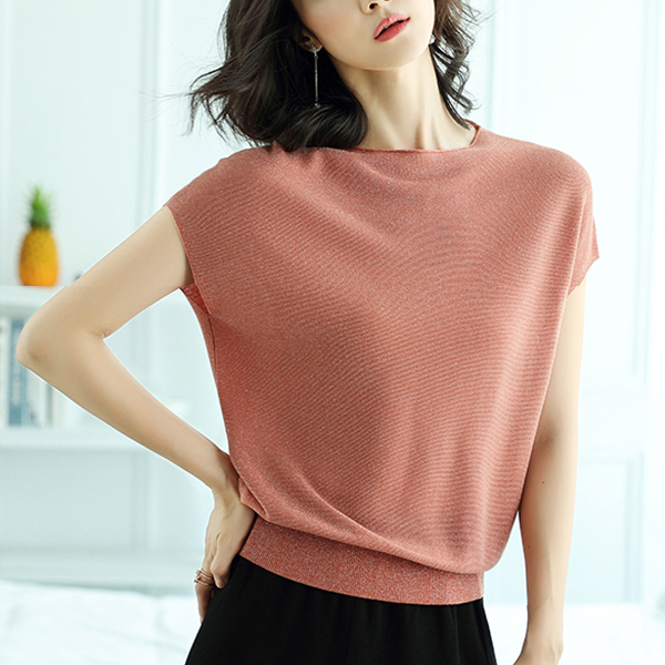 Fall Shoulder Glitter Loose Wear Summer Top - Rose Pink
