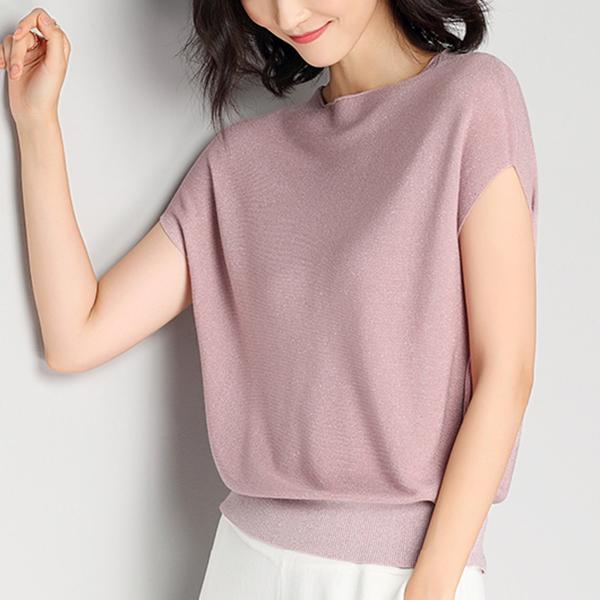Fall Shoulder Glitter Loose Wear Summer Top - Pink