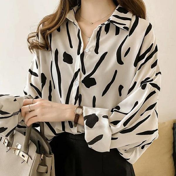 Loose Full Sleeves Printed Collar Shirt - White