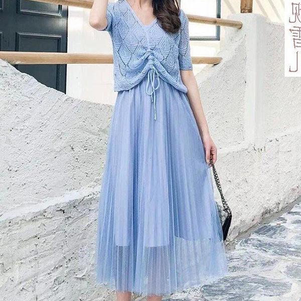 Two Piece Summer Wear Multi Occasion Dress - Blue