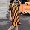 Fake Duo Striped Summer Wear T-Shirt Dress - Orange