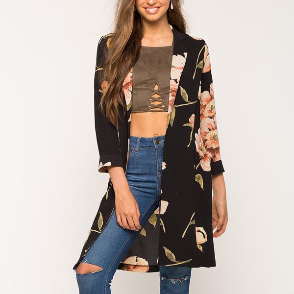 Multicolor Floral Black Three Quarter Sleeves Cardigan