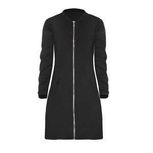 Round Neck Zipper Closure Long Black Jacket