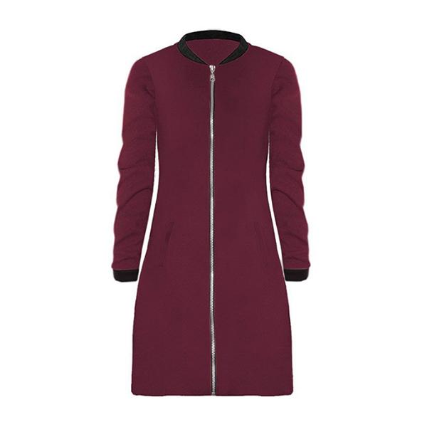 Round Neck Zipper Closure Long Burgundy Jacket