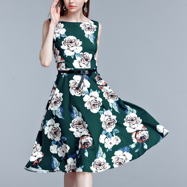 Retro Decent Vintage 50s Style Prom Party Printed Women Dresses