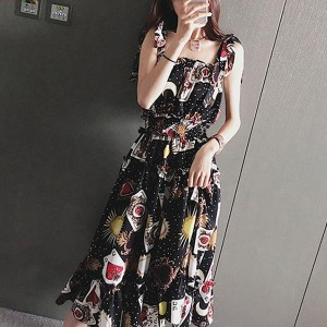 Sun Prints Chiffon Beach Wear Summer Dress - Black