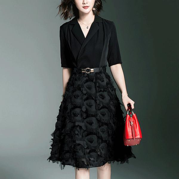Suit Neck Tassel Skirt Half Sleeves Mini Dress - Black