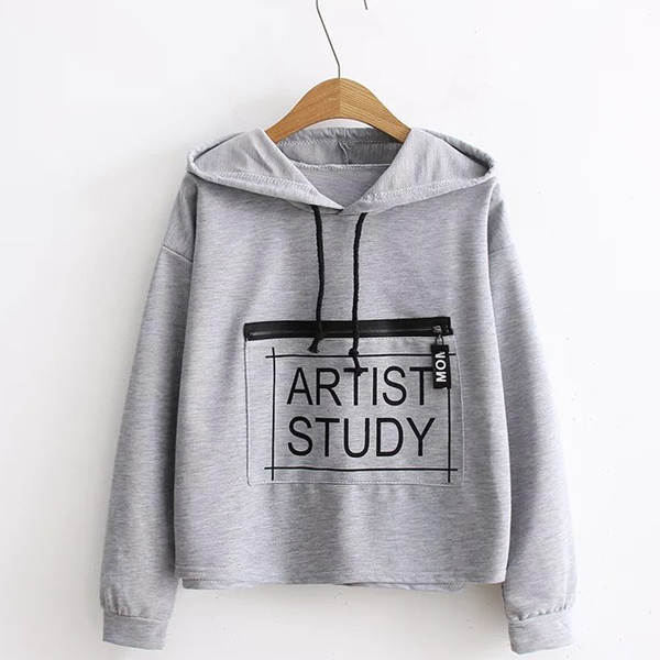 Plain Text Printed Hoodie T-Shirt - Grey