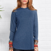 Bohemian Hoodie Style Long Sleeves Blue T-Shirt