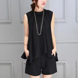 Pleated Round Neck Sleeveless Two Piece Suit - Black