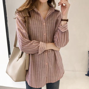Striped Formal Wear Full Sleeves Shirt - Pink