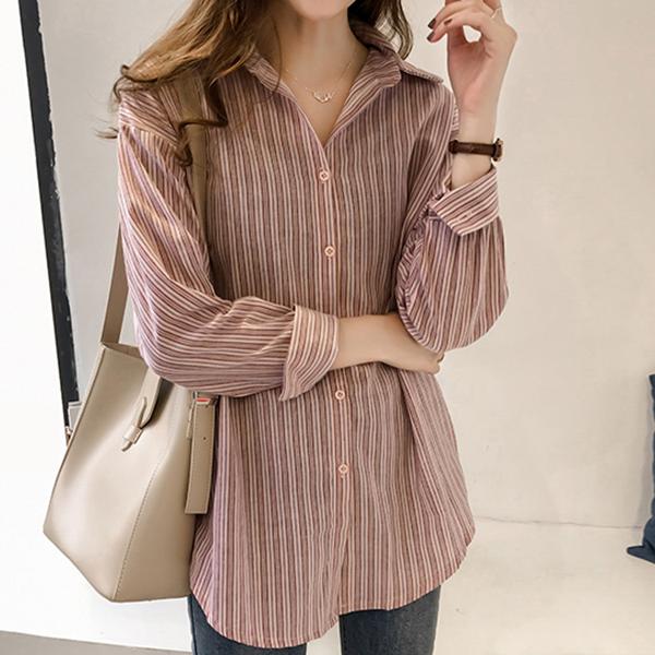 Striped Formal Wear Full Sleeves Shirt - Pink