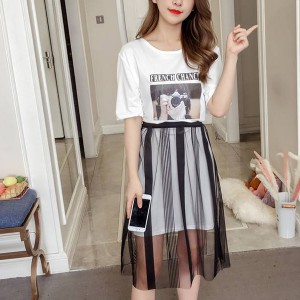 Two Piece Printed T-Shirt With Chiffon Skirt - White