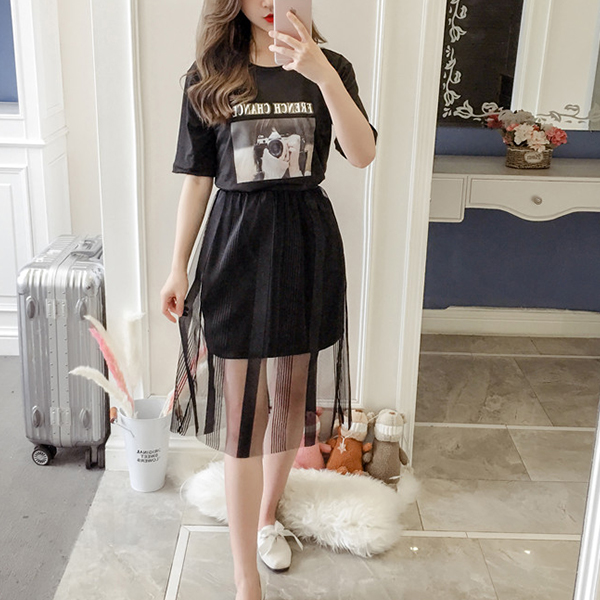 Two Piece Printed T-Shirt With Chiffon Skirt - Black