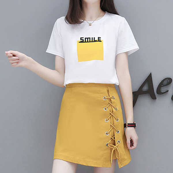 Laced Mini Skirt With T-Shirt - Yellow