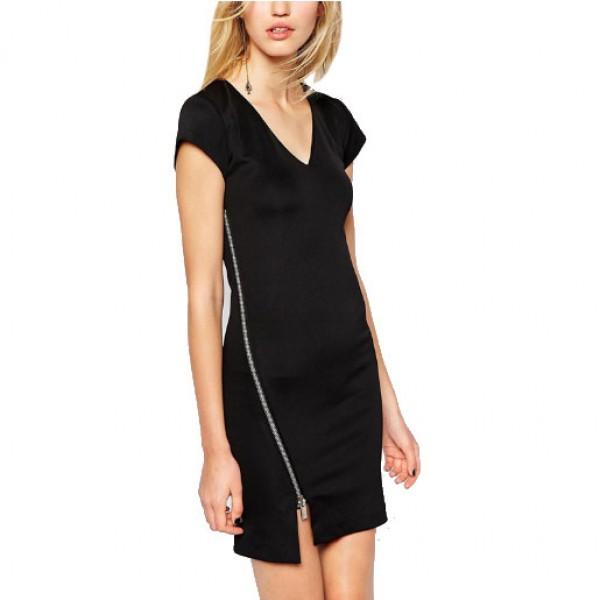 Summer V-Neck Dress Famous Fashion Skirt Short-Sleeved Dress