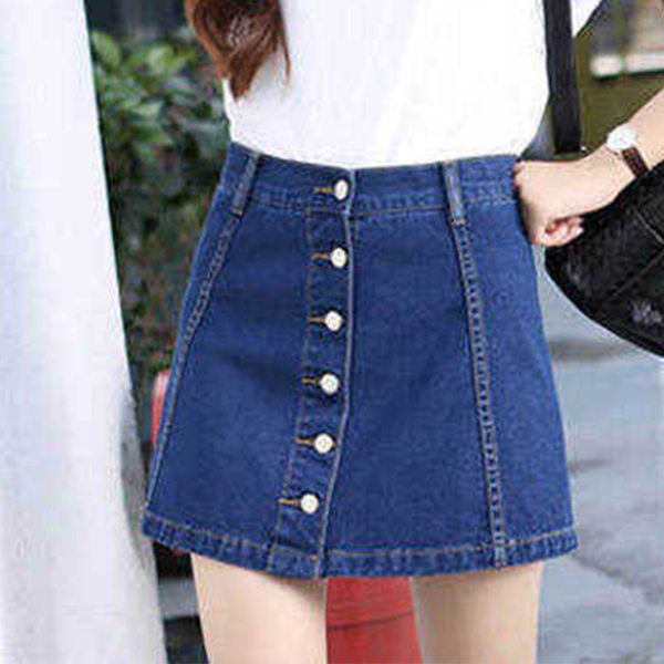 Button Up Two Piece Attached Denim Mini Casual Skirt - Dark Blue