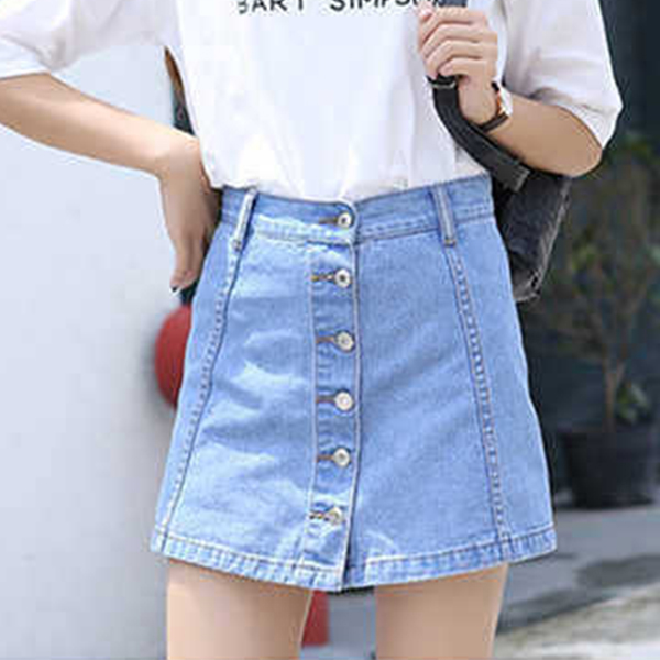 Button Up Two Piece Attached Denim Mini Casual Skirt - Blue