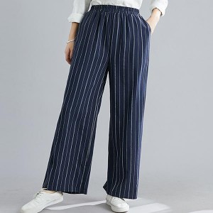 Causal Stripes Patterned Loose Women Trousers - Blue