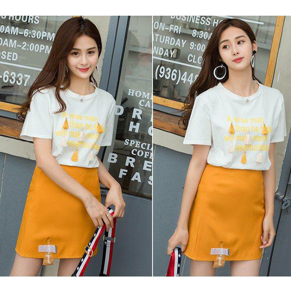 Printed T-Shirt With Mini Skirt Two Pieces Suit - White
