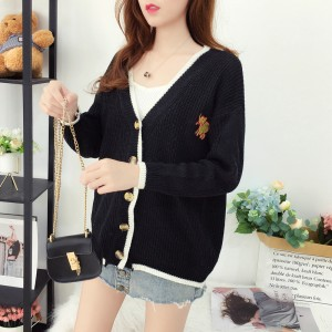 Casual Wearing Long Sleeves V Neckline Sweaters - Black