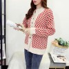 Geometrical Pattern Button Closer Cardigans Sweaters - Red
