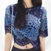 Woolen Floral Pattern Outwear Top - Blue