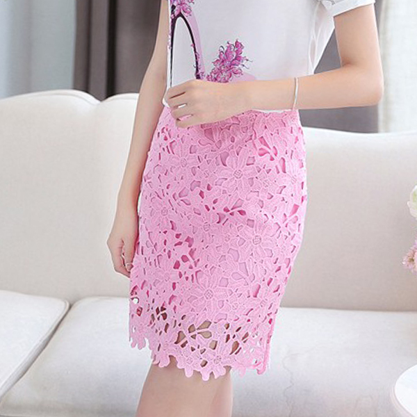 Flower Texture Laced Mini Fitted Skirt - Pink