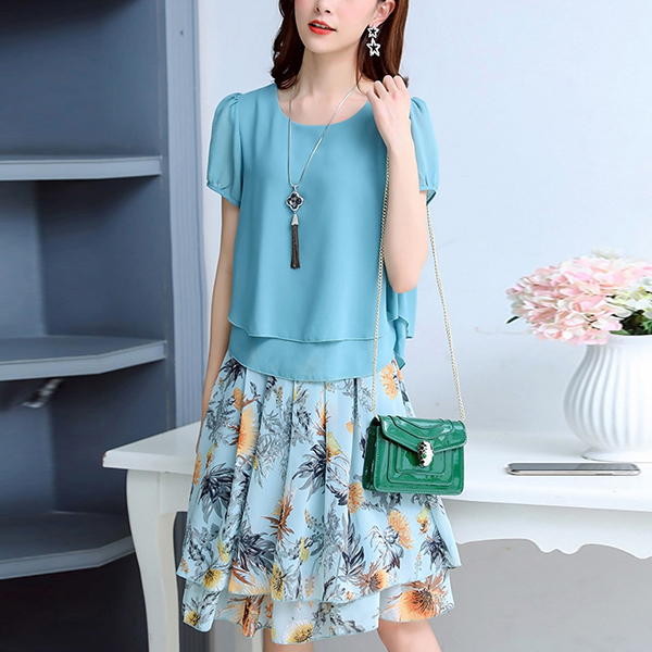 Floral Skirt Prints Flared Chiffon Two Piece Suit - Blue