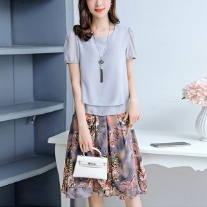 Floral Skirt Prints Flared Chiffon Two Piece Suit - Grey