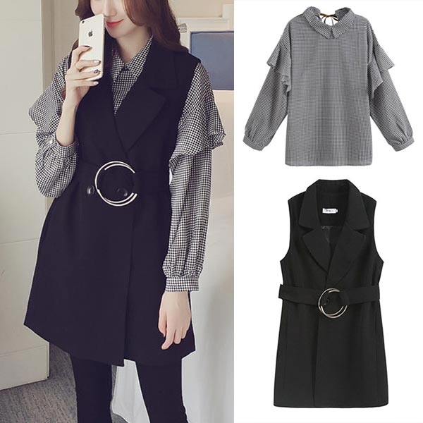 Lantern Sleeves Peter Pan Collar Two Pieces Tops - Black