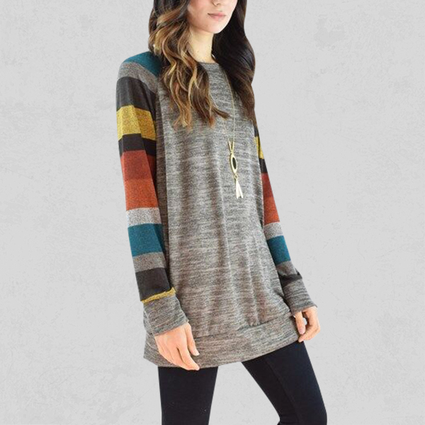 Round Neck Colorful Long Sleeved Grey Long Top