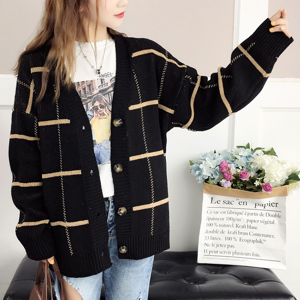 Long Sleeves Stripes Pattern Button Closer Cardigans - Black