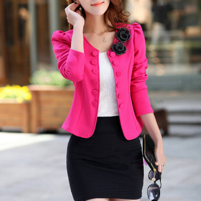 Bow Button Winter Hot Pink Mini Coat