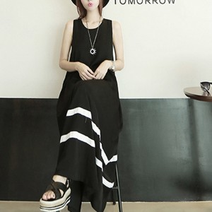 Flared Full Length Sleeveless Maxi Dress - Black