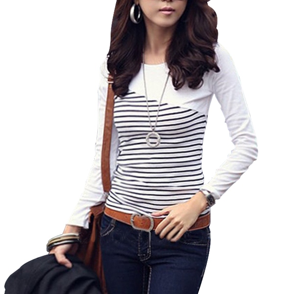 Slim Women Top Cotton Long Sleeve Stripes T-Shirt White