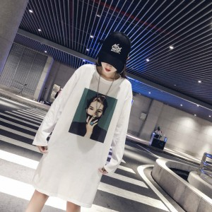 Lady Printed Long Sleeve Long T-Shirt - White