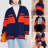 Button Closer Dual Color Decorative Cardigans Sweaters