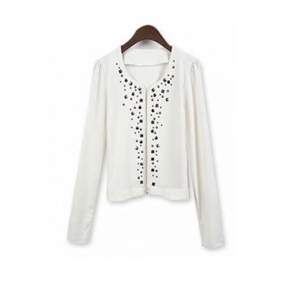 Outerwear Coats Shirt O-Neck Full Fashion White