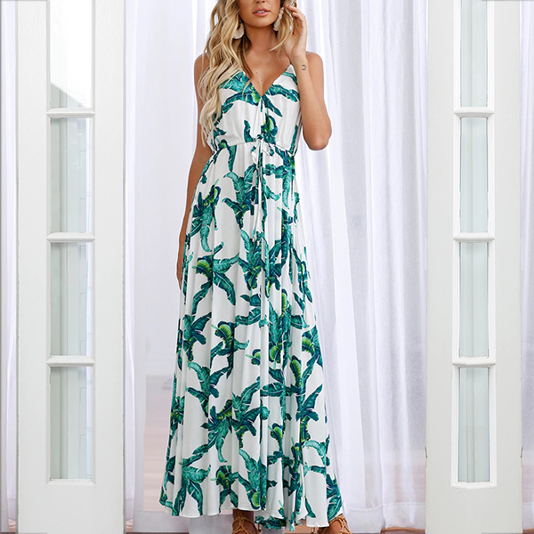 Halter Neck Leaves Printed Maxi Dress