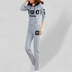 Two Piece Printed Casual Sports Dress - Gray