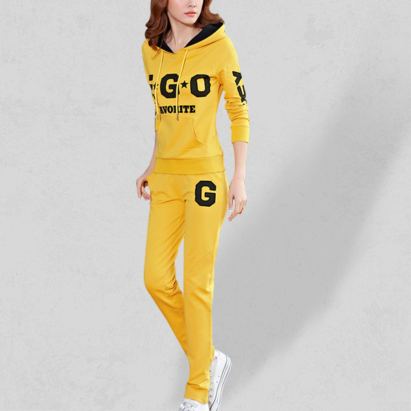 Two Piece Printed Casual Sports Dress - Yellow