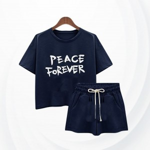 Beach Wearing Shorts Sleeves Two Piece Short Suit - Blue