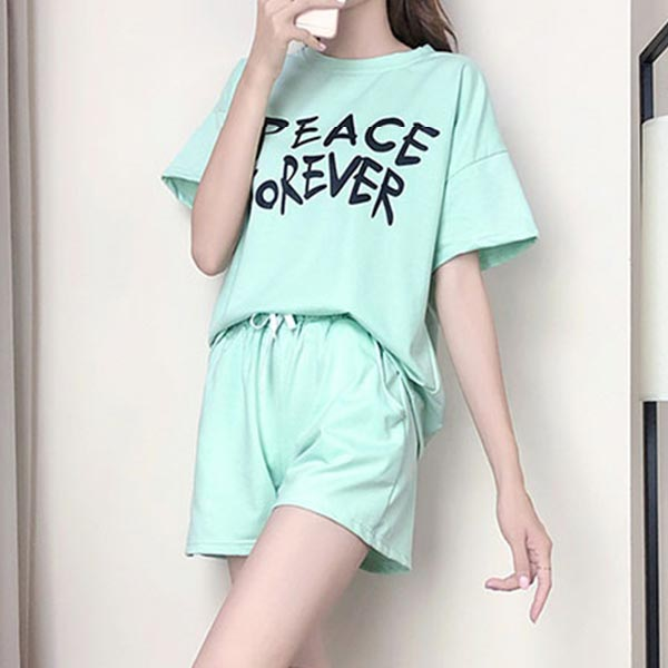 Beach Wearing Shorts Sleeves Two Piece Short Suit - Green