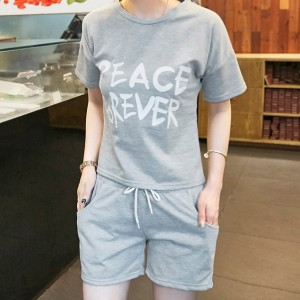 Beach Wearing Shorts Sleeves Two Piece Short Suit - Grey