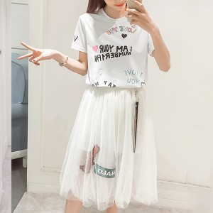 Round Neck Short Sleeves Printed T-Shirt With Skirt
