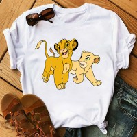 Lion Cartoon Prints Casual Wear Women T-Shirt - White