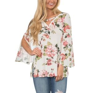 Summer Fashion Casual Print Loose Blouse Shirt White