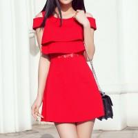 Cold Shoulder Round Neck Casual Summer Wear Women Dress - Red
