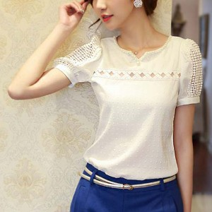 Pearl And Lace Decorative Top - White